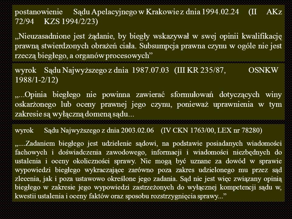 postanowienie. Sądu Apelacyjnego w Krakowie z dnia 1994. 02. 24