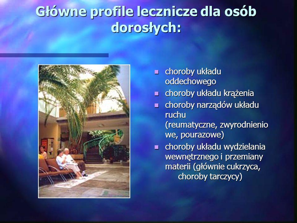 Główne profile lecznicze dla osób dorosłych: