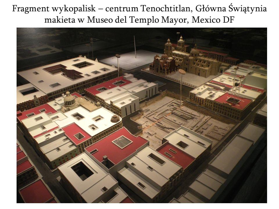 Fragment wykopalisk – centrum Tenochtitlan, Główna Świątynia makieta w Museo del Templo Mayor, Mexico DF
