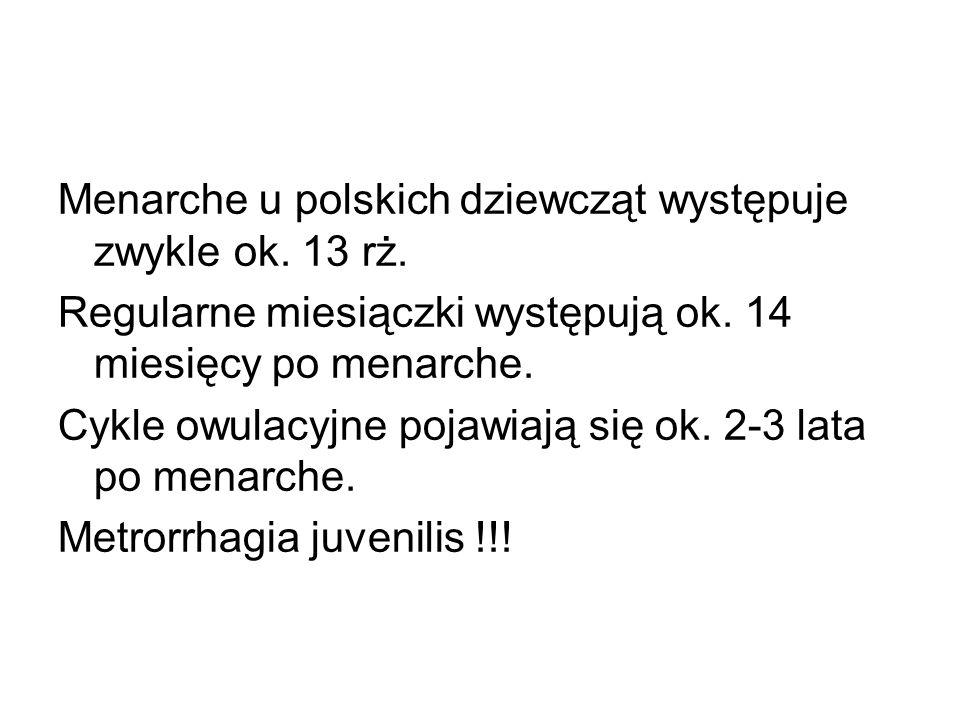 Menarche u polskich dziewcząt występuje zwykle ok. 13 rż.