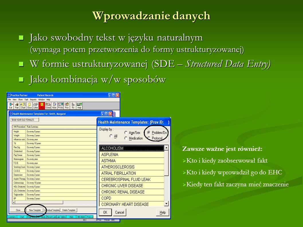 Wprowadzanie danych Jako swobodny tekst w języku naturalnym (wymaga potem przetworzenia do formy ustrukturyzowanej)