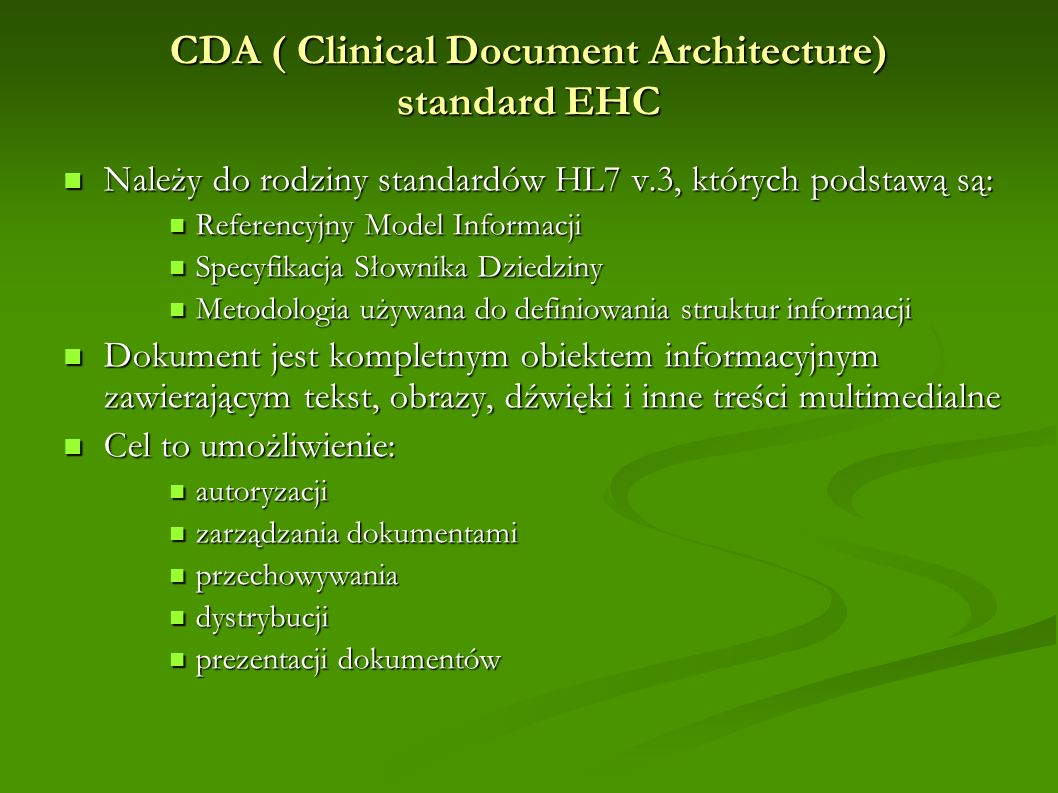 CDA ( Clinical Document Architecture) standard EHC