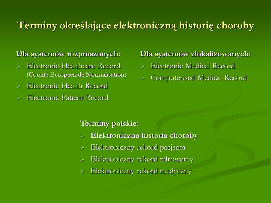 Terminy określające elektroniczną historię choroby
