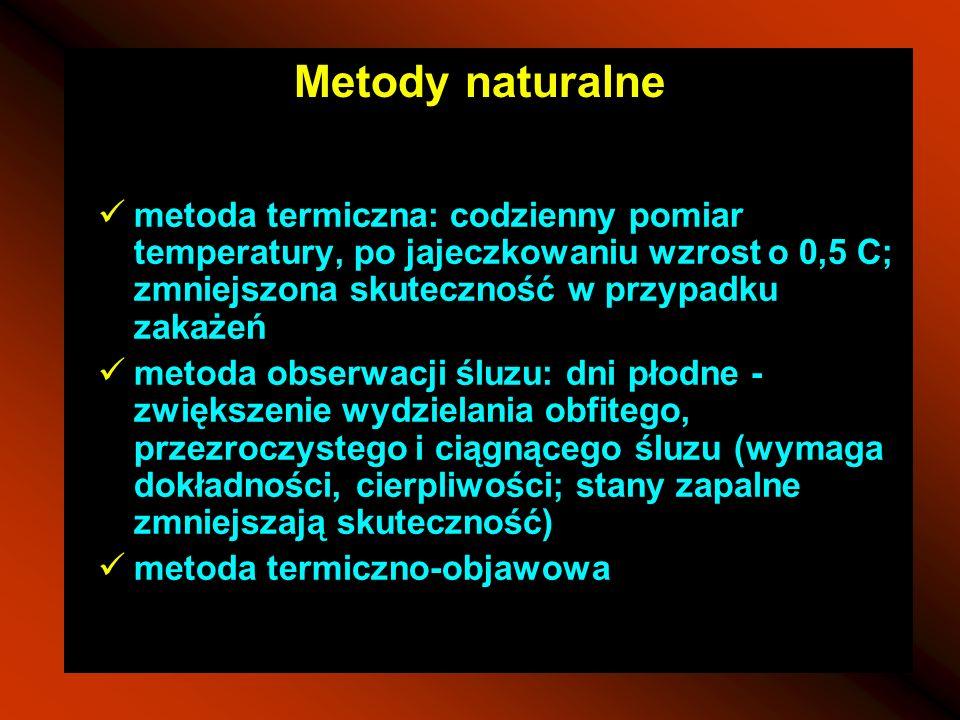 Metody naturalnemetoda termiczna: codzienny pomiar temperatury, po jajeczkowaniu wzrost o 0,5 C; zmniejszona skuteczność w przypadku zakażeń.