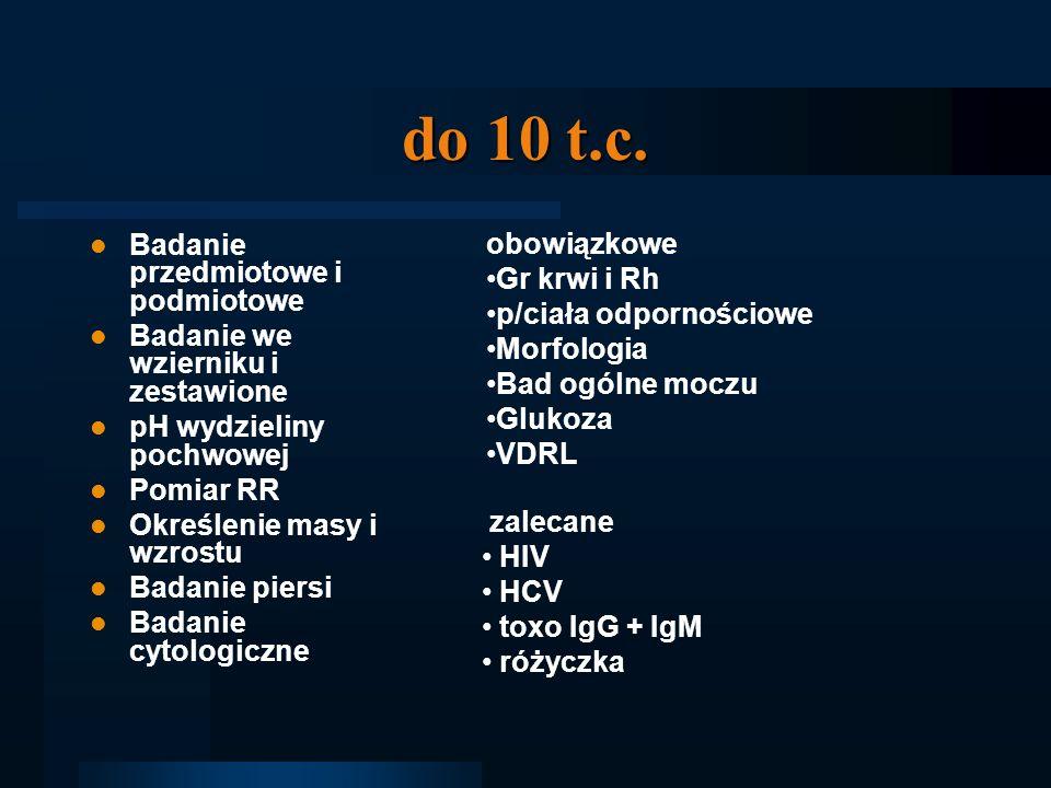 do 10 t.c. obowiązkowe Badanie przedmiotowe i podmiotowe Gr krwi i Rh