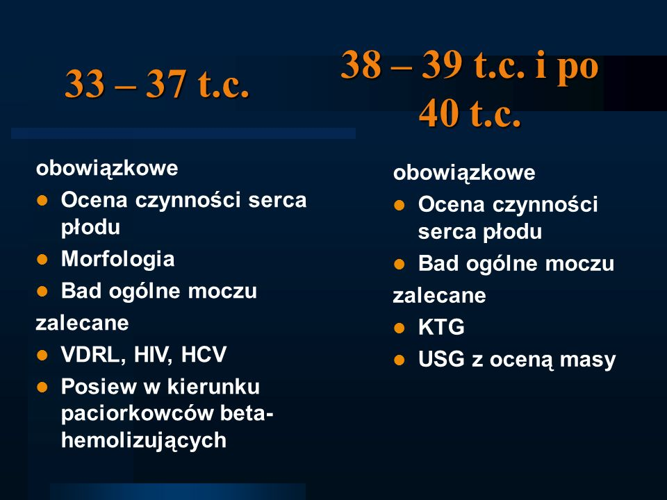38 – 39 t.c. i po 40 t.c. 33 – 37 t.c. obowiązkowe obowiązkowe