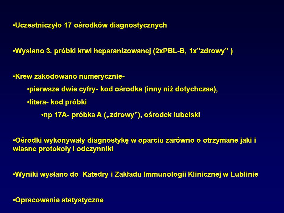 Uczestniczyło 17 ośrodków diagnostycznych