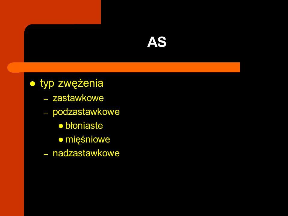AS typ zwężenia zastawkowe podzastawkowe błoniaste mięśniowe