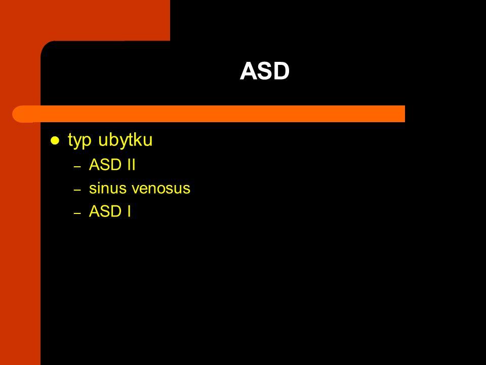 ASD typ ubytku ASD II sinus venosus ASD I