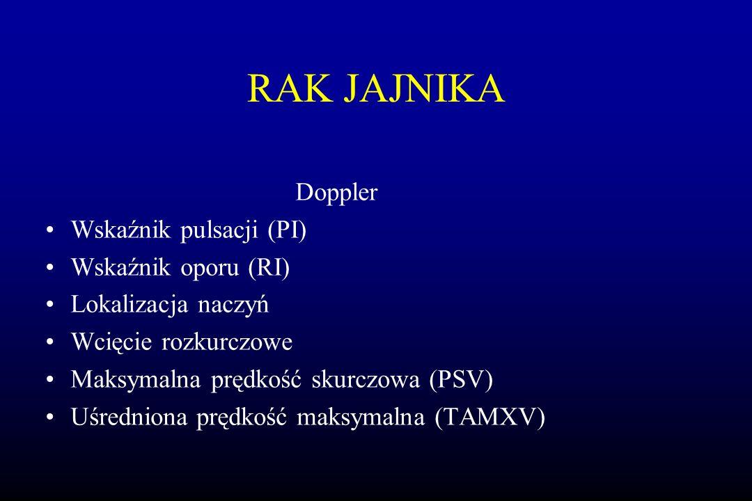 RAK JAJNIKA Doppler Wskaźnik pulsacji (PI) Wskaźnik oporu (RI)
