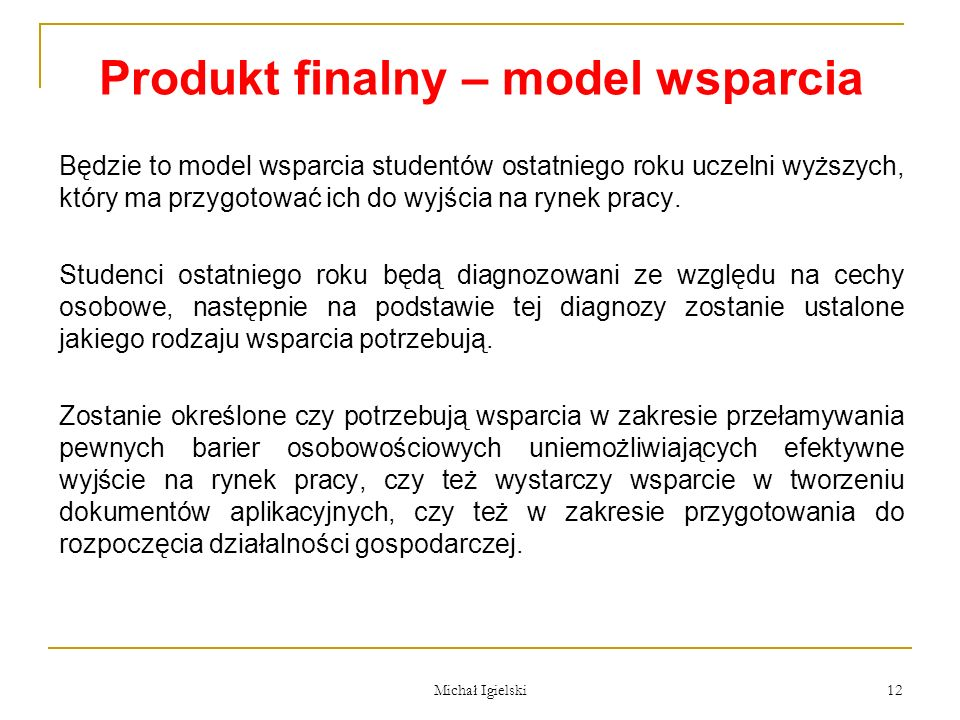 Produkt finalny – model wsparcia