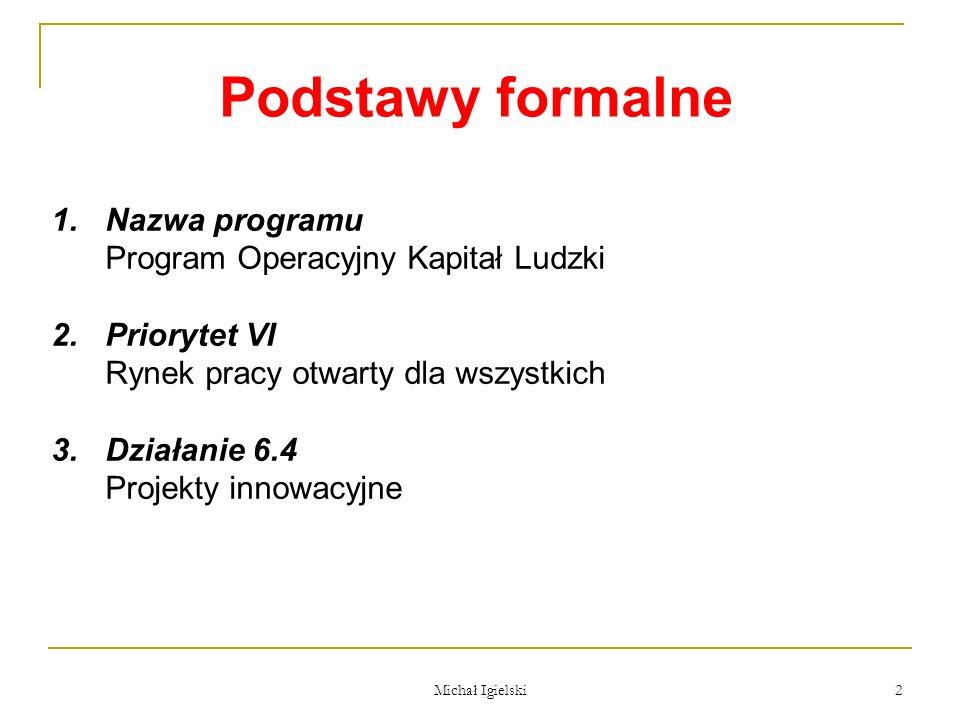 Podstawy formalne Nazwa programu Program Operacyjny Kapitał Ludzki