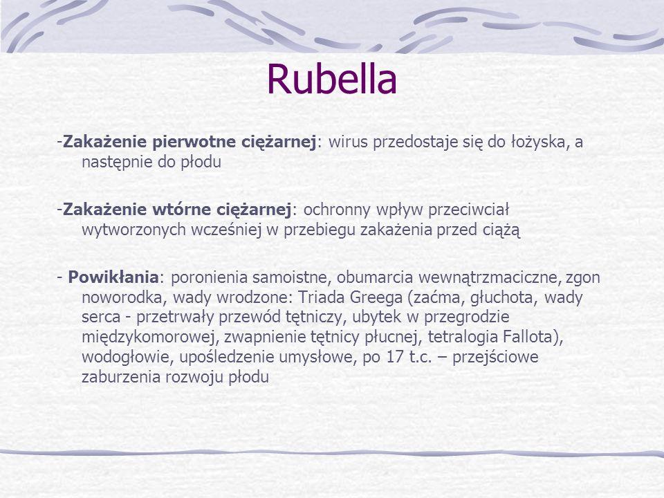 Rubella-Zakażenie pierwotne ciężarnej: wirus przedostaje się do łożyska, a następnie do płodu.