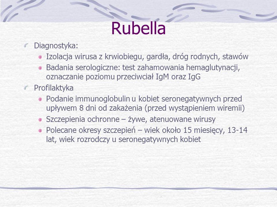 RubellaDiagnostyka: Izolacja wirusa z krwiobiegu, gardła, dróg rodnych, stawów.