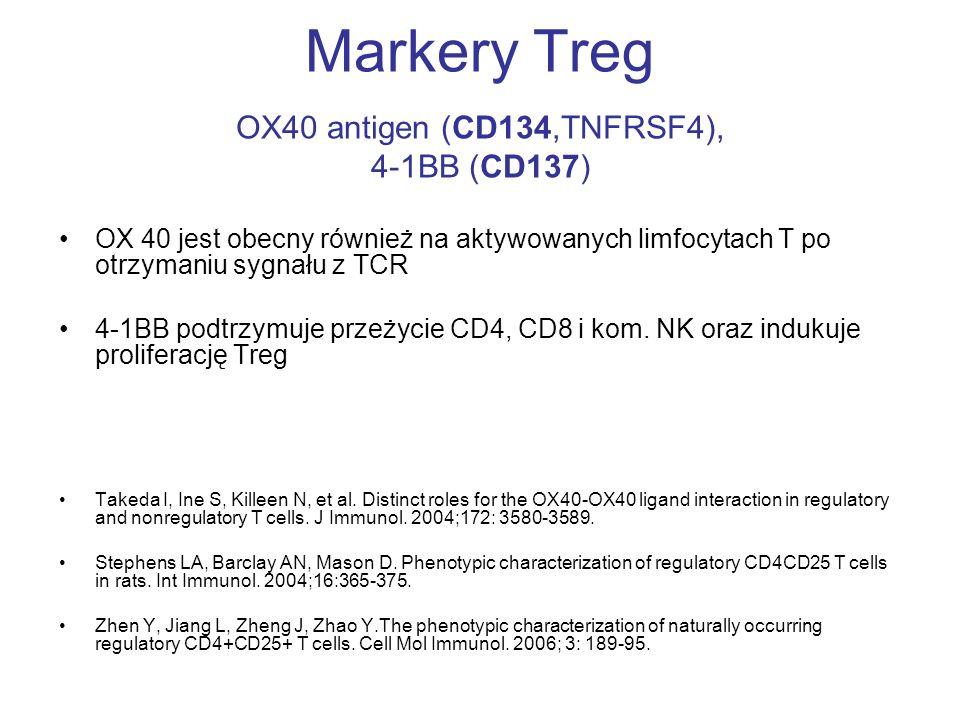 Markery Treg OX40 antigen (CD134,TNFRSF4), 4-1BB (CD137)