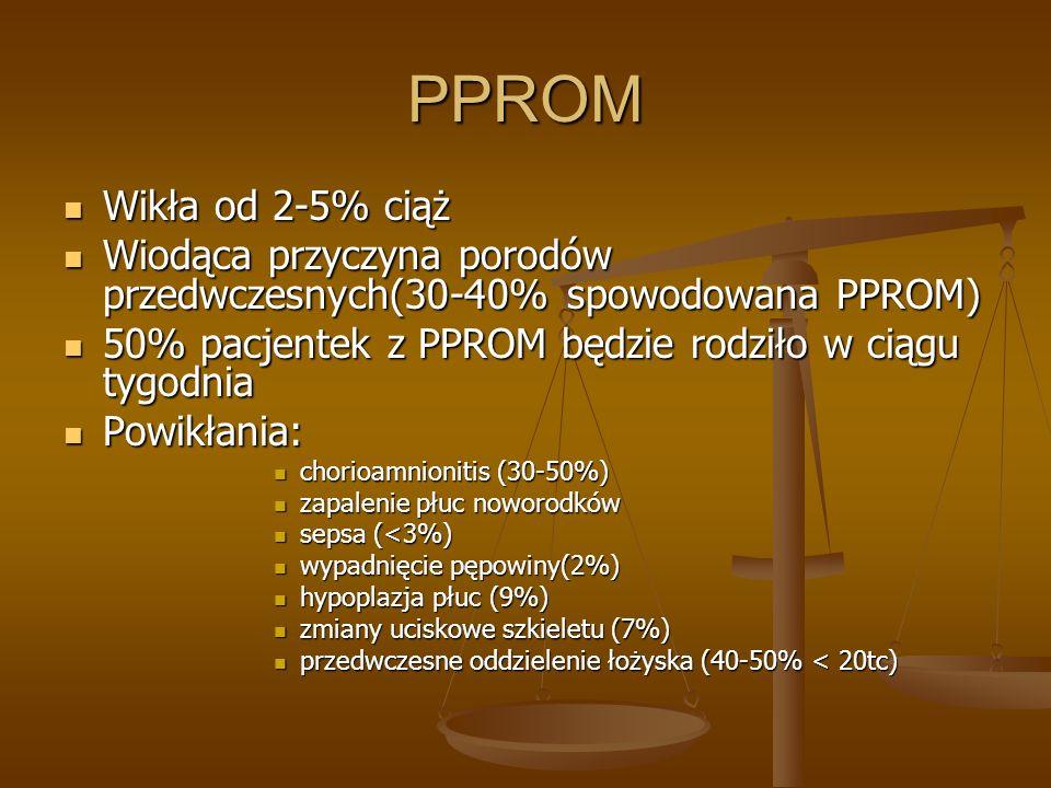 PPROM Wikła od 2-5% ciąż. Wiodąca przyczyna porodów przedwczesnych(30-40% spowodowana PPROM) 50% pacjentek z PPROM będzie rodziło w ciągu tygodnia.