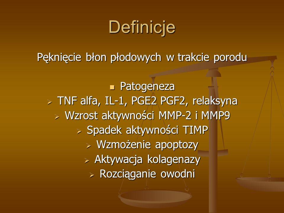 Definicje Pęknięcie błon płodowych w trakcie porodu Patogeneza
