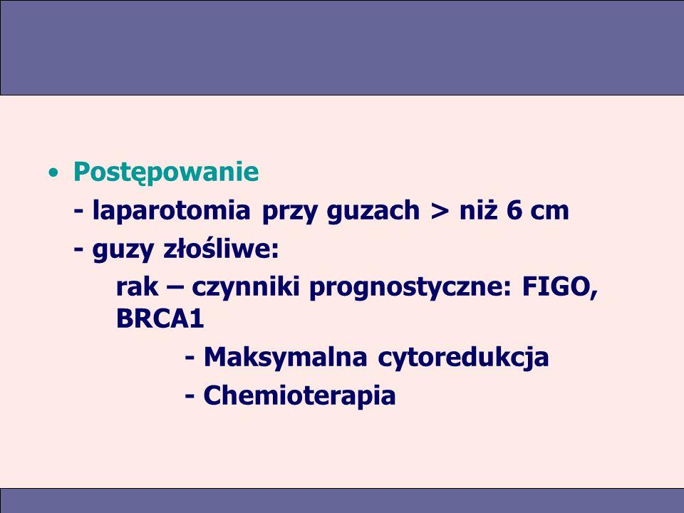 Postępowanie - laparotomia przy guzach > niż 6 cm. - guzy złośliwe: rak – czynniki prognostyczne: FIGO, BRCA1.