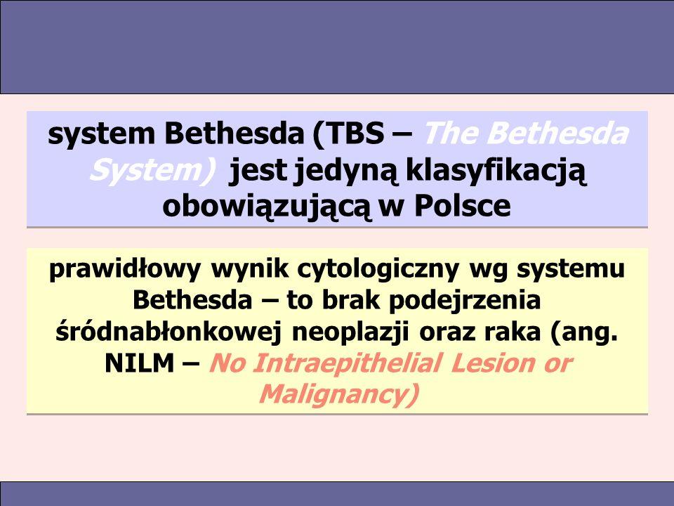 system Bethesda (TBS – The Bethesda System) jest jedyną klasyfikacją obowiązującą w Polsce