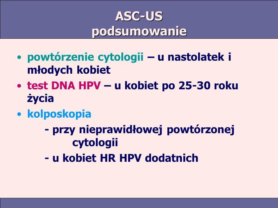 ASC-US podsumowanie powtórzenie cytologii – u nastolatek i młodych kobiet. test DNA HPV – u kobiet po 25-30 roku życia.