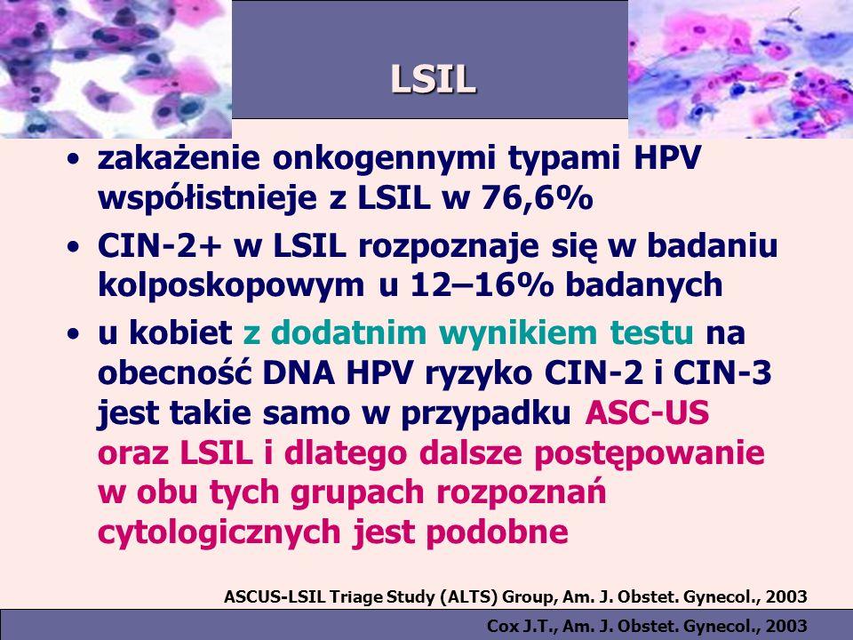 LSIL zakażenie onkogennymi typami HPV współistnieje z LSIL w 76,6%