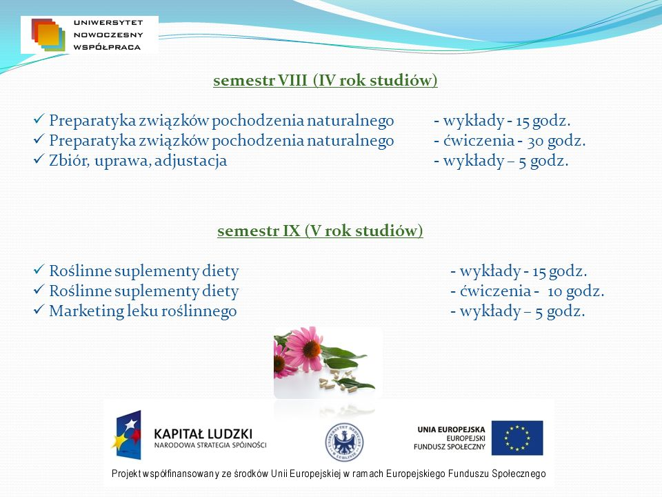 semestr VIII (IV rok studiów) semestr IX (V rok studiów)