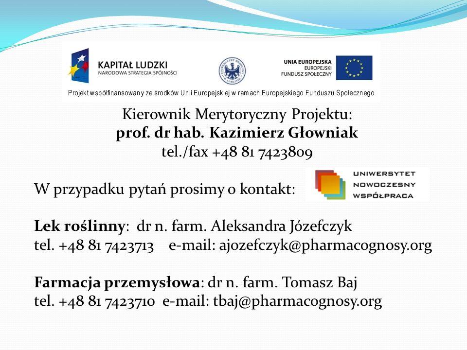 Kierownik Merytoryczny Projektu: prof. dr hab. Kazimierz Głowniak