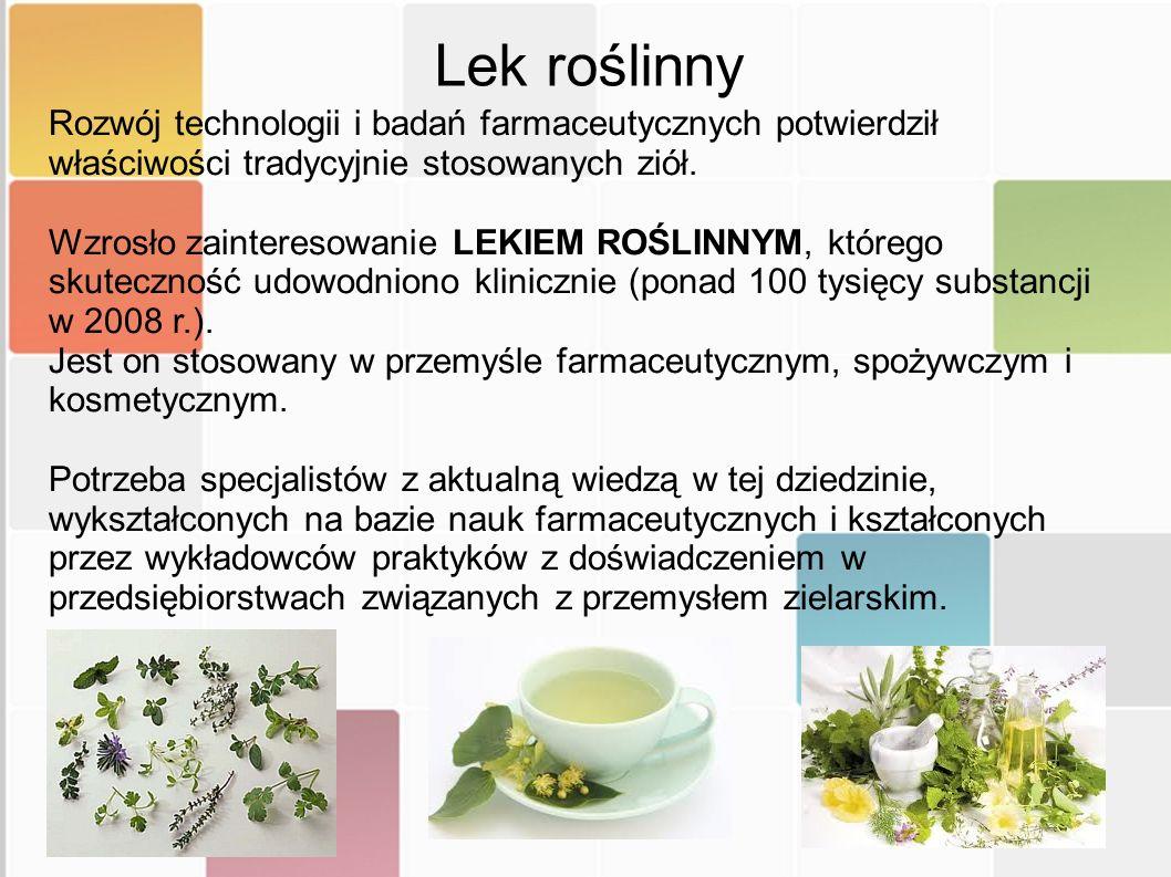 Lek roślinny Rozwój technologii i badań farmaceutycznych potwierdził właściwości tradycyjnie stosowanych ziół.