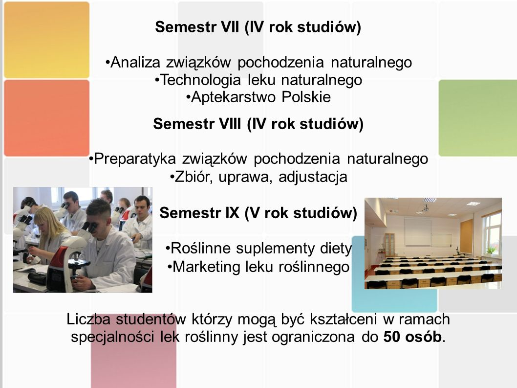 Semestr VII (IV rok studiów) Analiza związków pochodzenia naturalnego