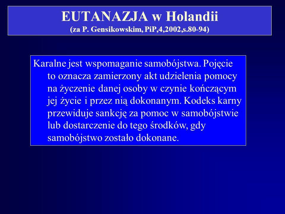 EUTANAZJA w Holandii (za P. Gensikowskim, PiP,4,2002,s.80-94)