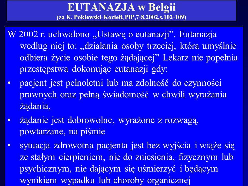 EUTANAZJA w Belgii (za K. Poklewski-Koziełł, PiP,7-8,2002,s.102-109)