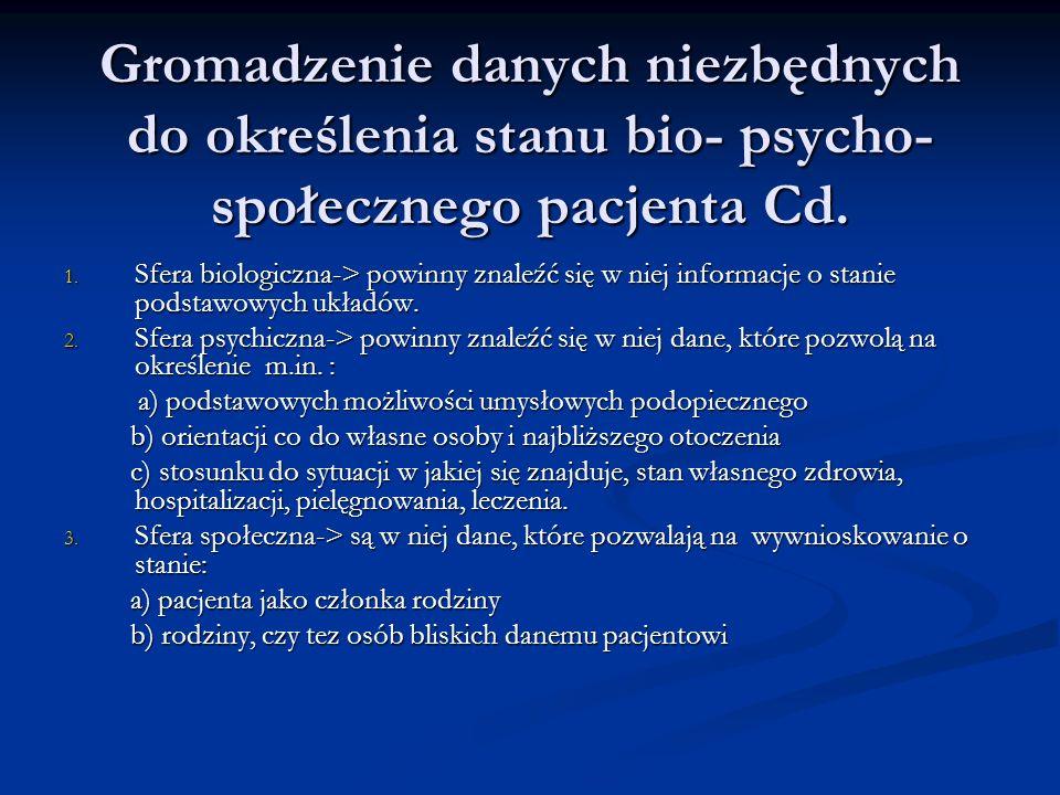Gromadzenie danych niezbędnych do określenia stanu bio- psycho- społecznego pacjenta Cd.