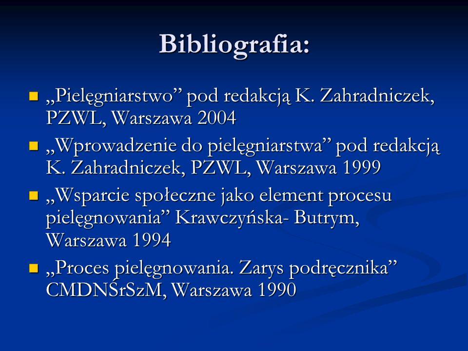 """Bibliografia: """"Pielęgniarstwo pod redakcją K. Zahradniczek, PZWL, Warszawa 2004."""