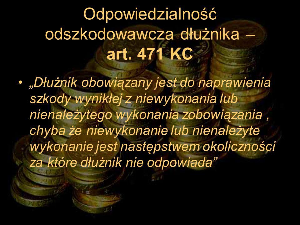 Odpowiedzialność odszkodowawcza dłużnika – art. 471 KC