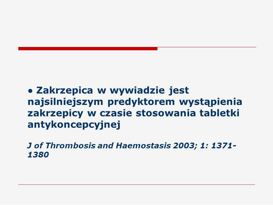 Zakrzepica w wywiadzie jest najsilniejszym predyktorem wystąpienia zakrzepicy w czasie stosowania tabletki antykoncepcyjnej J of Thrombosis and Haemostasis 2003; 1: 1371-1380