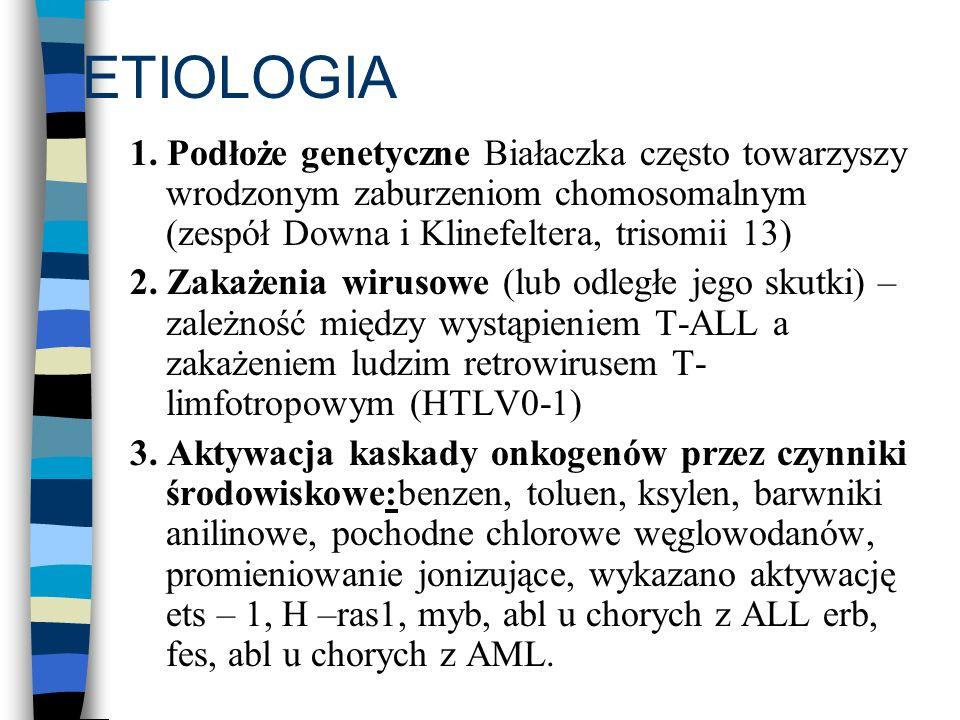 ETIOLOGIA 1. Podłoże genetyczne Białaczka często towarzyszy wrodzonym zaburzeniom chomosomalnym (zespół Downa i Klinefeltera, trisomii 13)