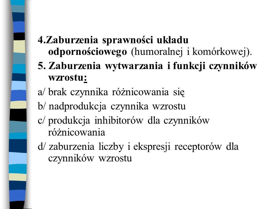 4.Zaburzenia sprawności układu odpornościowego (humoralnej i komórkowej).