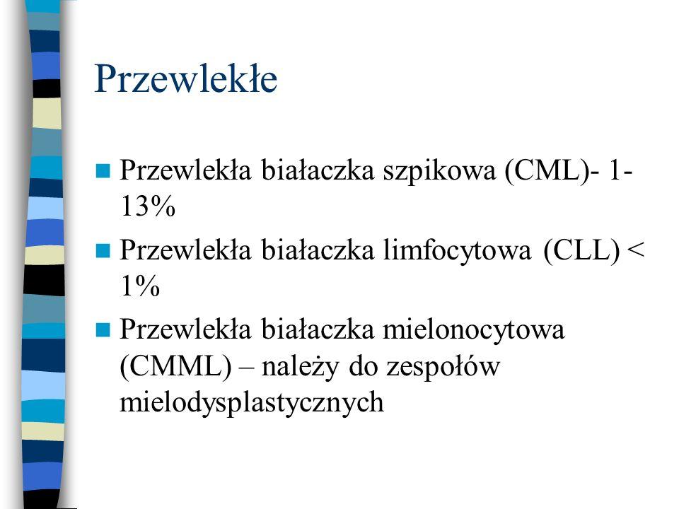 Przewlekłe Przewlekła białaczka szpikowa (CML)- 1-13%
