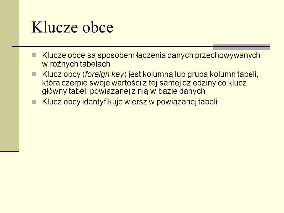 Klucze obce Klucze obce są sposobem łączenia danych przechowywanych w różnych tabelach.