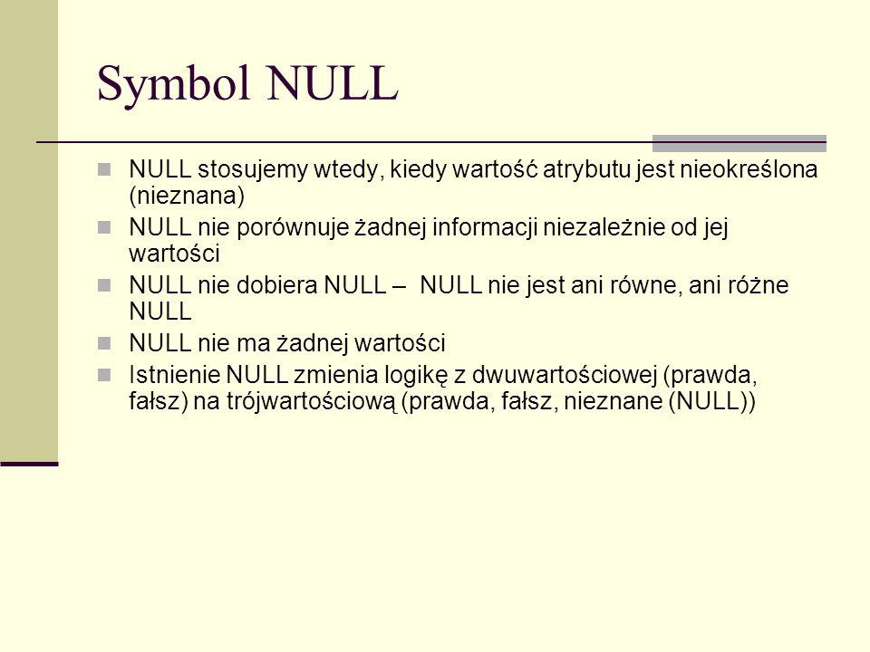Symbol NULL NULL stosujemy wtedy, kiedy wartość atrybutu jest nieokreślona (nieznana)