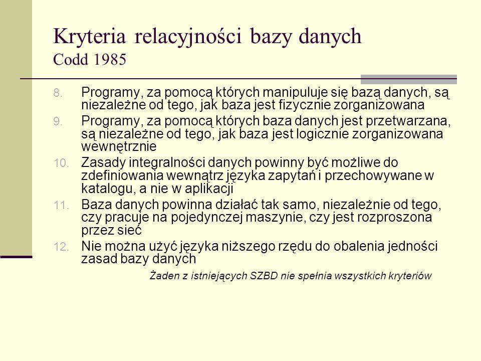Kryteria relacyjności bazy danych Codd 1985