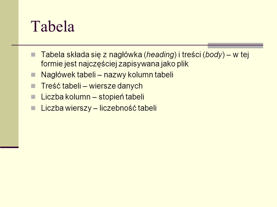 TabelaTabela składa się z nagłówka (heading) i treści (body) – w tej formie jest najczęściej zapisywana jako plik.