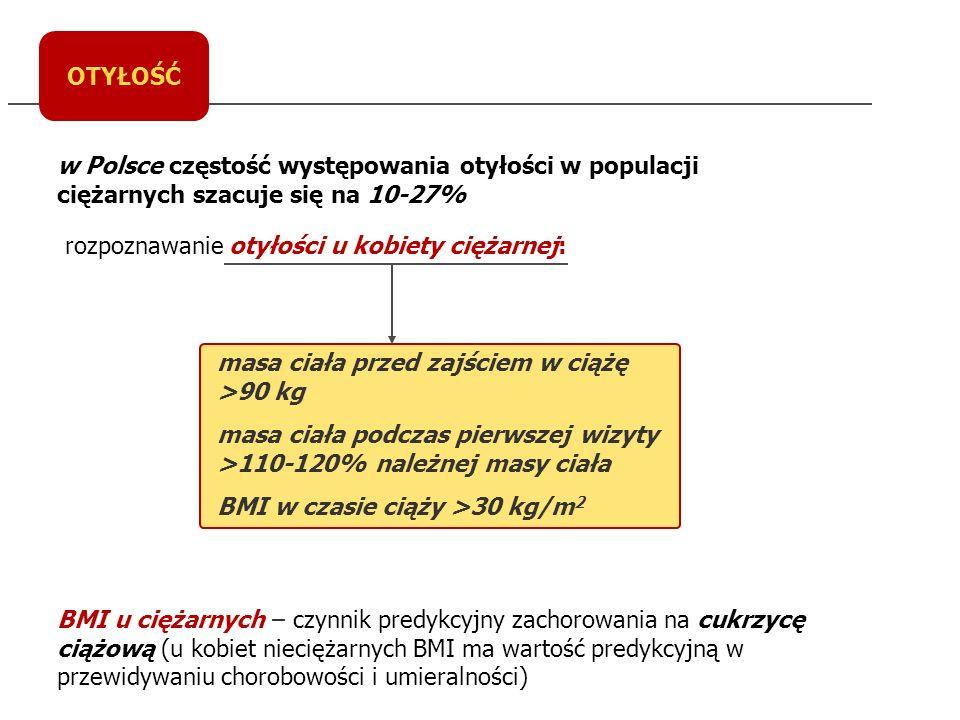 OTYŁOŚĆ w Polsce częstość występowania otyłości w populacji ciężarnych szacuje się na 10-27% rozpoznawanie otyłości u kobiety ciężarnej: