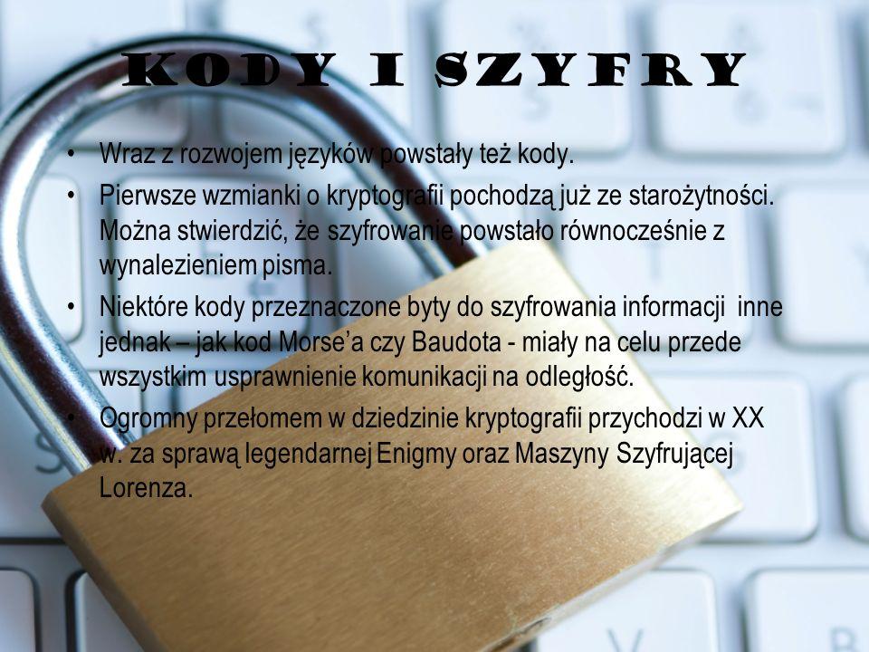 KODY I SZYFRY Wraz z rozwojem języków powstały też kody.