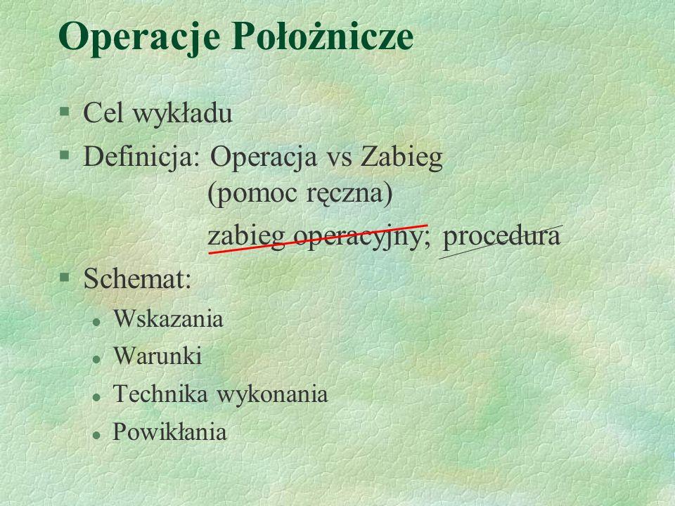 Operacje Położnicze Cel wykładu