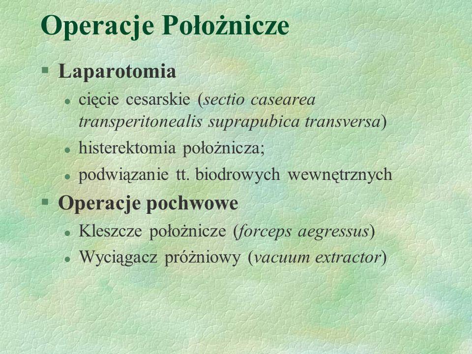 Operacje Położnicze Laparotomia Operacje pochwowe