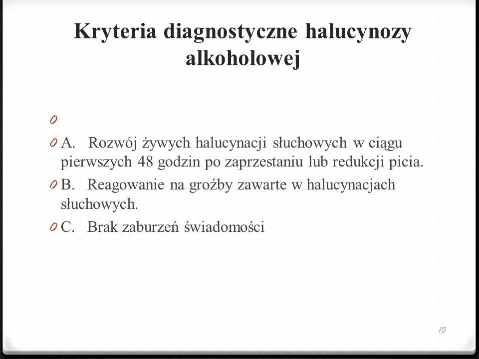 Kryteria diagnostyczne halucynozy alkoholowej