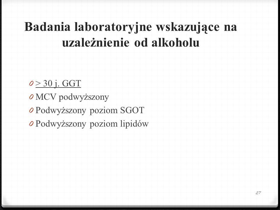 Badania laboratoryjne wskazujące na uzależnienie od alkoholu