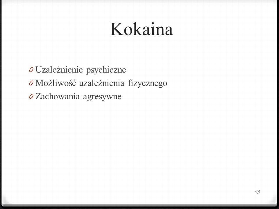 Kokaina Uzależnienie psychiczne Możliwość uzależnienia fizycznego