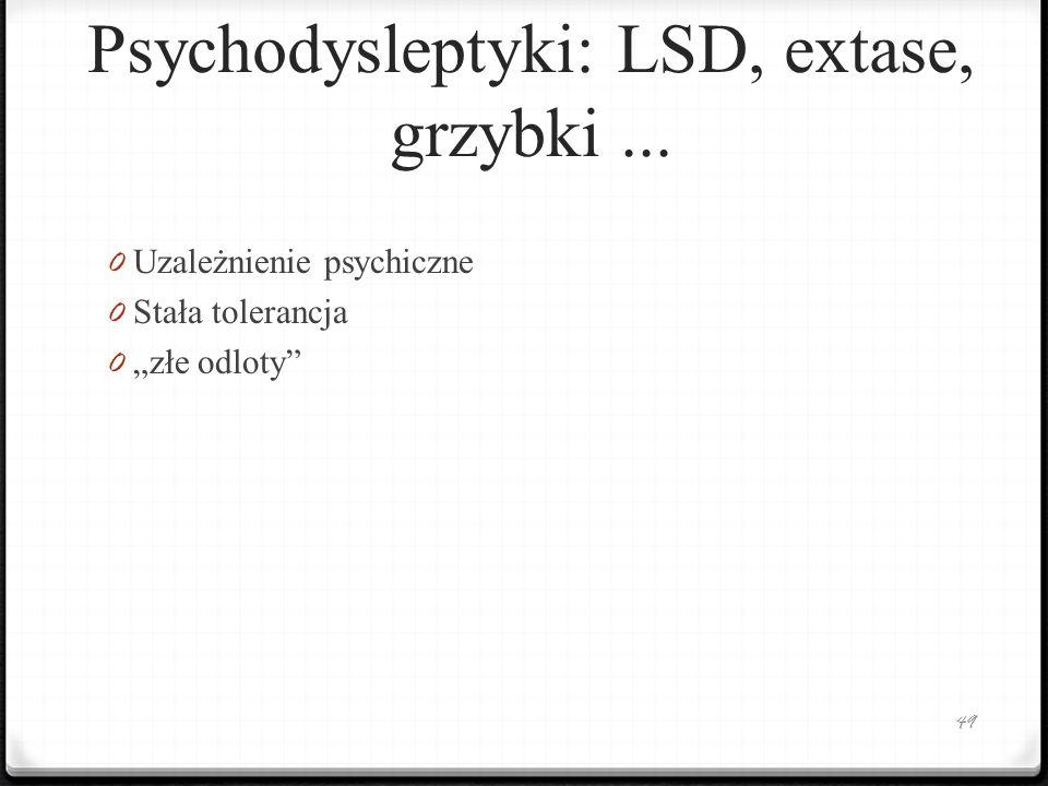 Psychodysleptyki: LSD, extase, grzybki ...
